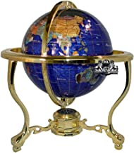 Unique Art 13-Inch Tall Bahama Blue Pearl Swirl Ocean Table Top Gemstone World Globe with Gold Tripod