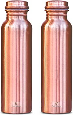 Kuber Industries Plain Pure Copper Water Bottle,1Ltr (Set of 2, Brown)-KUBKMART11565, Standard