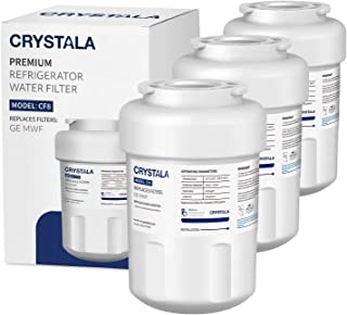 MWF Water Filters for refrigerator Replacement GE MWF, MWFP, MWFA, GWF, GWFA, SmartWater, FMG-1, Kenmore 46-9991 by Crystala Filters (3 Pack)