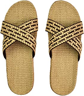 Blue-shore Slippers Summer Home Indoor Sandals Spring and Autumn Couples Landing Guests Flax