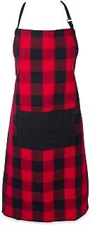 DII Cotton Adjustable Buffalo Check Plaid Apron with Pocket & Extra-Long Ties, 32 x 28