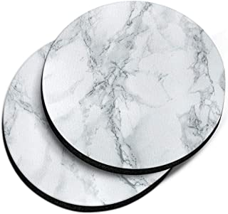 CARIBOU Coasters, Stone Marble Design Absorbent Round Fabric Felt Neoprene Car Coasters for Drinks, 2pcs Set