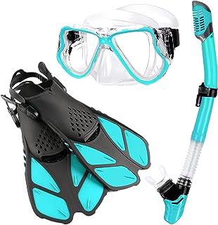 Zenoplige Mask Fins Snorkel Set Adults Men Women, Swim Goggles 180 Panoramic View Anti-Fog Anti-Leak Dry Top Snorkel and D...