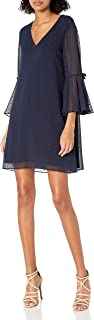 Bebe womens Novelty Shimmer Dot Trapeze Dress With Ruffle Sleeve Cocktail Dress