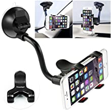 Car Phone Mount Windshield, Long Arm Clamp iVoler Universal Dashboard with Double Clip Strong Suction Cup Cell Phone Holder Compatible iPhone 11 Pro XS Max X 7 8 Plus 6 Plus Galaxy S9 S8 S7 Note 9 10