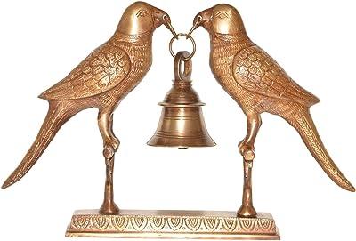 Brass Parrot Pair Holding a Bell