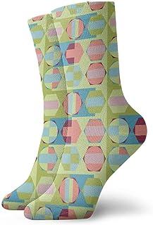 Calcetines clásicos de algodón sin costuras para mujer, geométricos, calcetines clásicos de algodón de 30 cm para practicar senderismo, ciclismo, ciclismo, correr, deportes de fútbol
