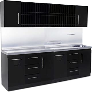Icarus Full Modern Black Color Bar Shampoo Hair Station with Sink