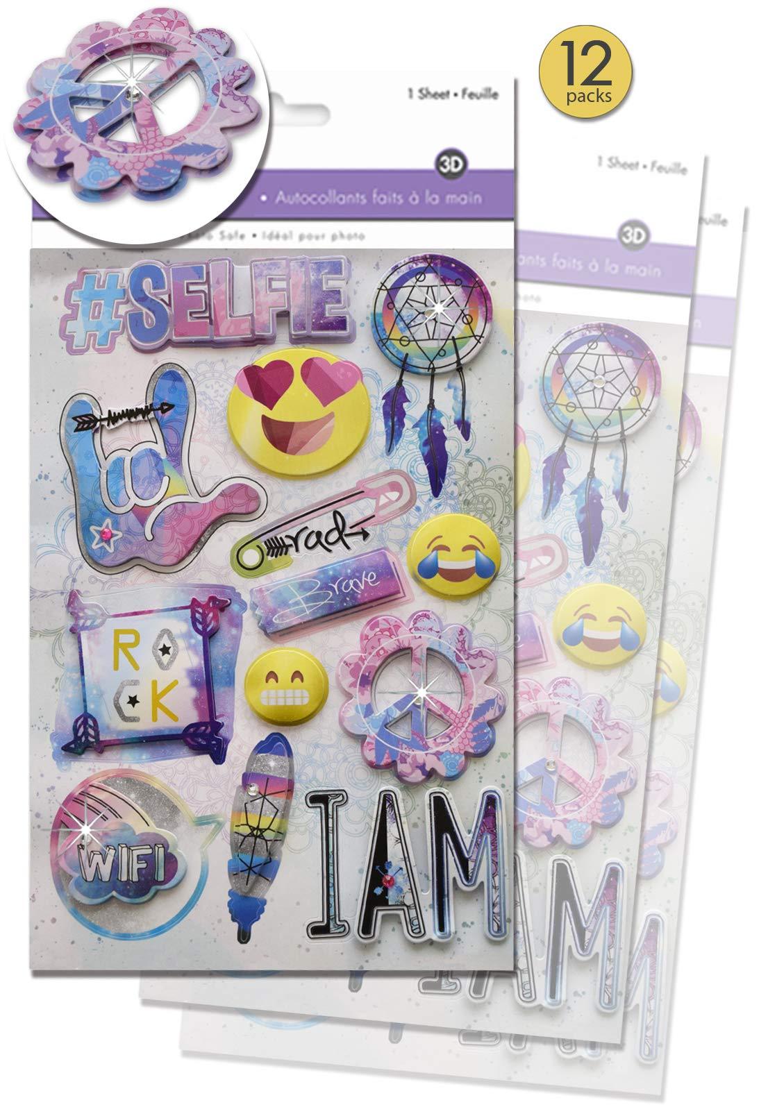 Girls Rock Scrapbook Bulk Value Pack Girls Rule 3D Stickers Best Friends Scrapbook 12 Pack Groovy Scrapbook Stickers BFF Scrapbook Stickers for Tweens Teen Girls Dimensional with Gem Accents