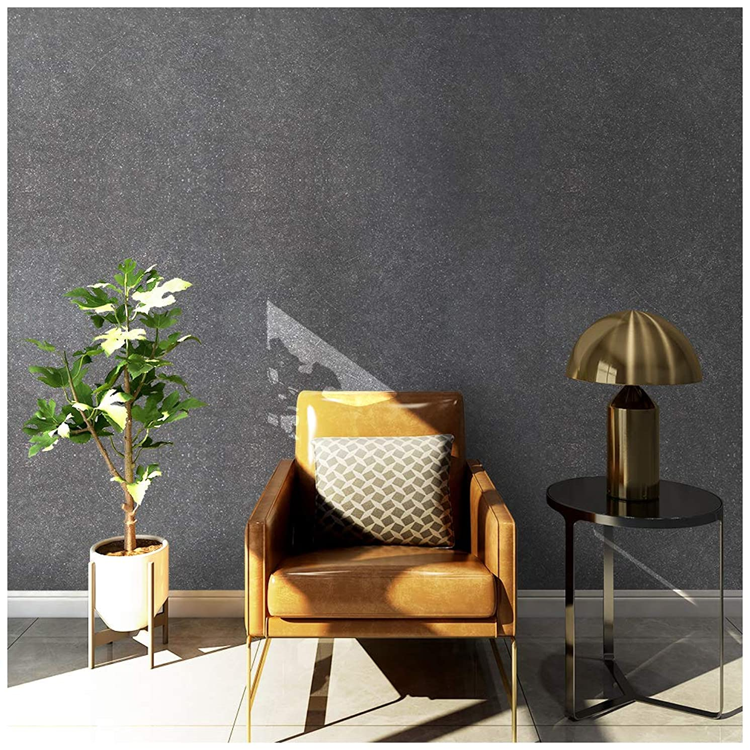 HaokHome 3024 Non Woven Silk Black Wallpaper Fiber Textured Wall Paper for Home Kitchen Bathroom Wall Decoration 20.8
