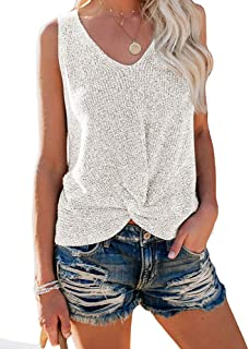 Womens Summer V Neck Sleeveless Sweater Twist Knot Casual Loose Knit Tank Tops