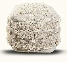 The Nascent White Mirabella Shaggy Pouf Comfortable Ottoman