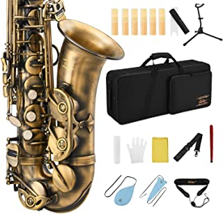 Eastar Alto Saxophone E Flat Student Alto Sax Antique Finish Beginner Alto Saxophone Eb With Cleaning Cloth,Carrying Case,...