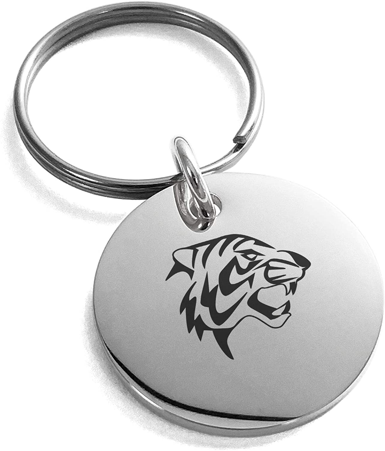 Tioneer Stainless Steel Tiger Small Medallion Circle Charm Keychain Keyring