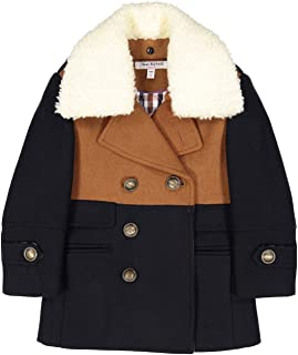 Boy's Two Toned Double Breasted Coat with Removable Fleece Collar