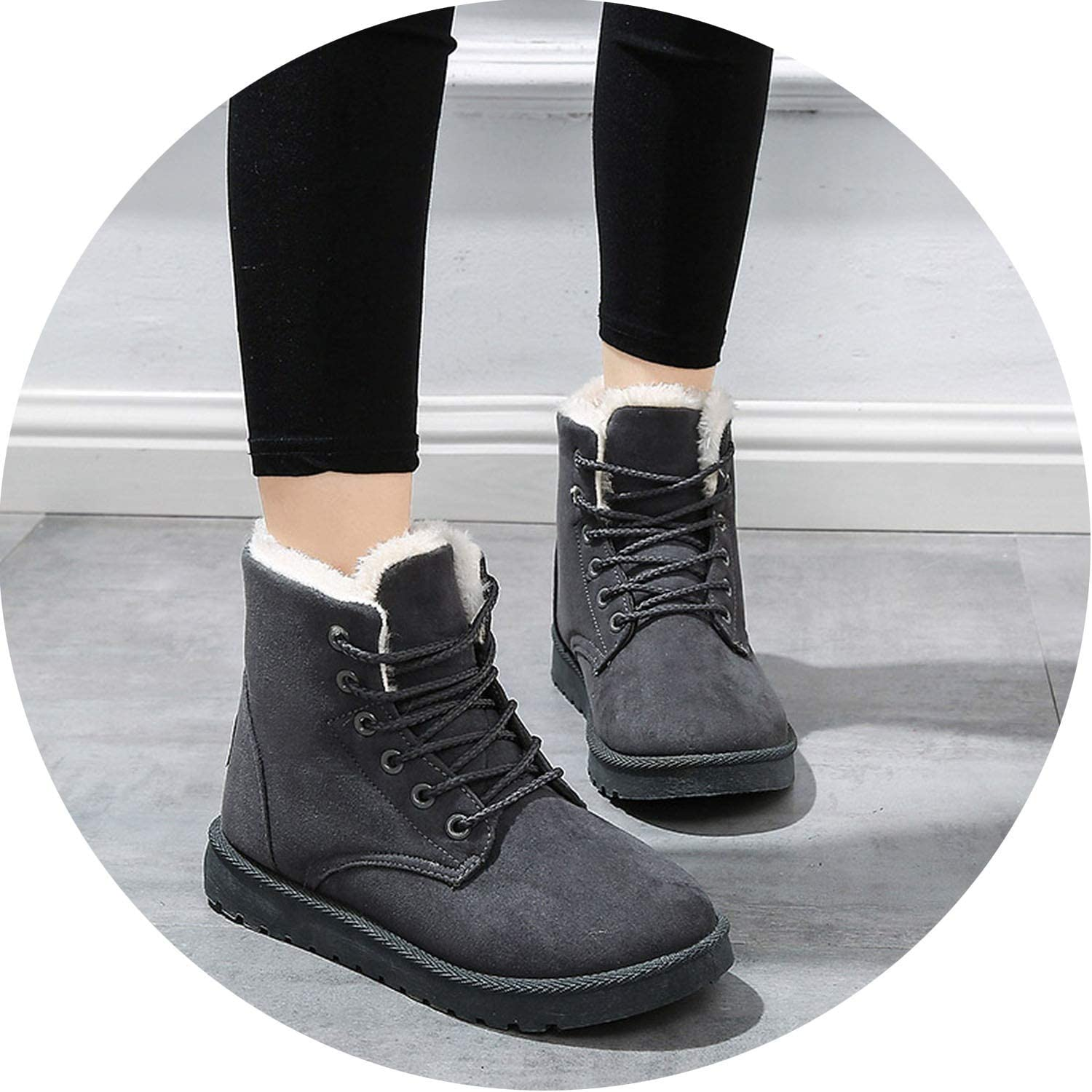 Crazy-Shop Women Boots Winter Warm Snow Boots Suede Ankle Boots for Female Plush Booties Woman Plus Size