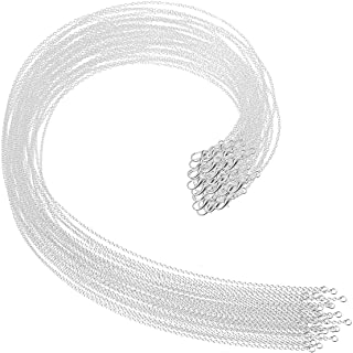 Selizo 30 Pack Necklace Chain Silver Plated Necklace Chains Bulk Cable Chain Charms for Jewelry Making, 1.2 mm (18 Inches)
