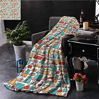 SSKJTC Cars Red Throw Blanket Motorbikes Caravans Bus Dorm Bed Baby Cot Traveling Picnic W80 xL60