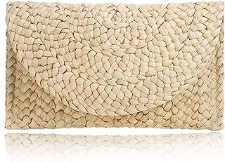 Women Straw Clutch Handbag Envelope Bag Hasp Beach Bag Woven Bag Purse Wallet