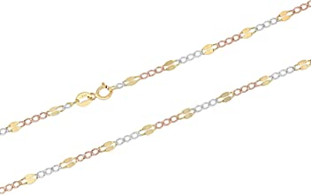 Ioka 14K Tri Color Solid Gold 1.8mm Figaro 3+1 Concave Chain Necklace with Spring Ring Clasp