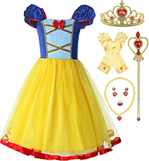 Little Girls Elastic Waist Backless Princess Snow White Dress Costume