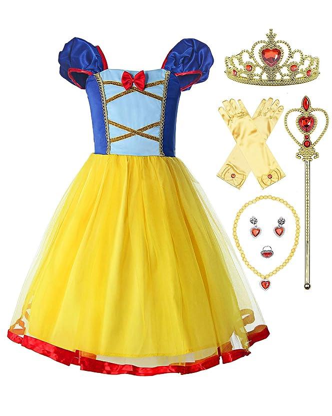 ReliBeauty Little Girls Elastic Waist Backless Princess Snow White Dress Costume