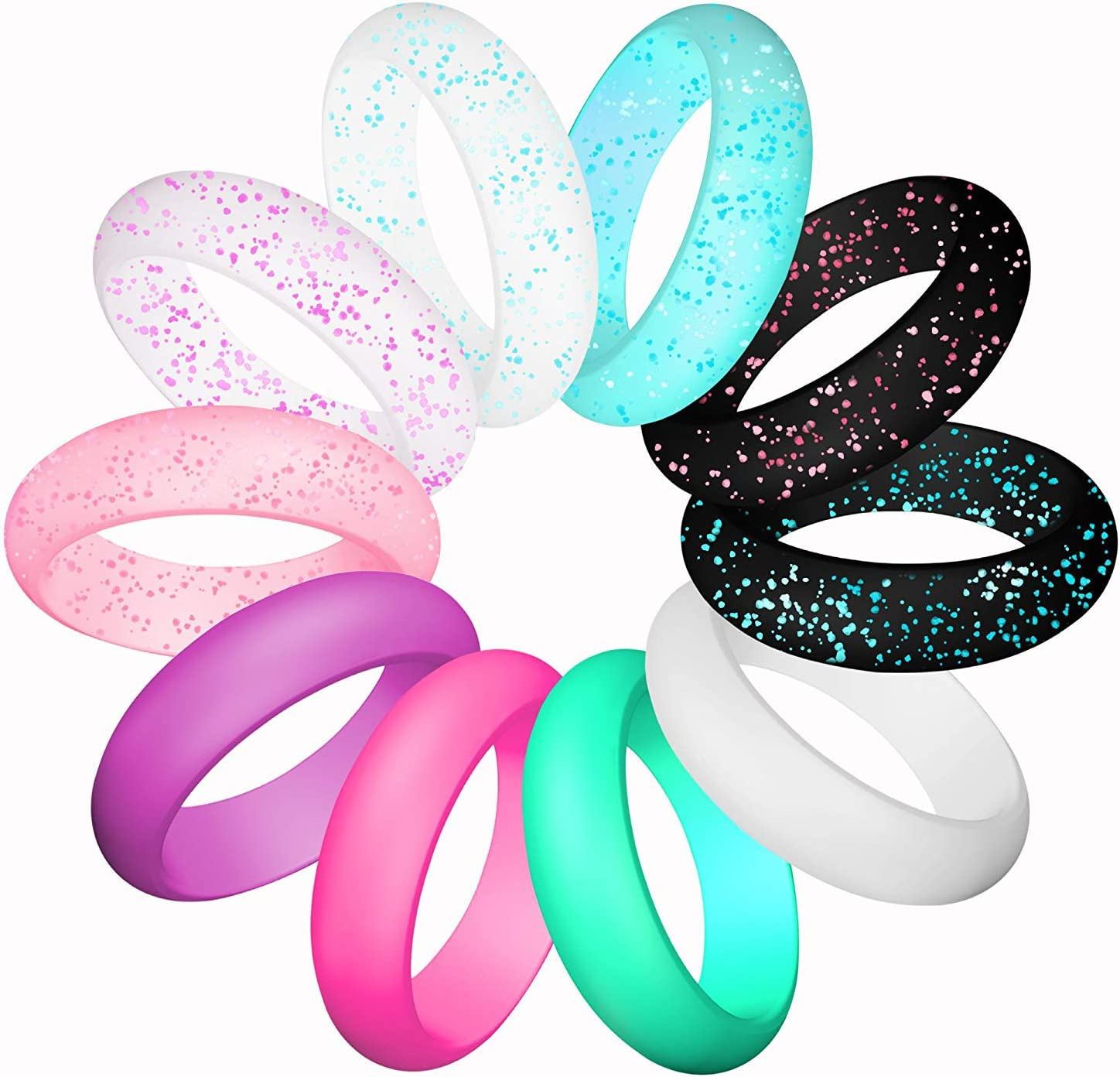 LUNIQI Silicone Wedding Ring for Women, Thin and Stackable Durable Rubber Safe Band for Love, Couple, Souvenir and Outdoor Active Exercise Style-10 Rings Pack