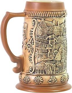 Beer Stein German Beer Stein Ceramic Beer Mug Handmade Cup Tankard Ancient City Landscape Relief Gifts Souvenirs Giftbox 0...