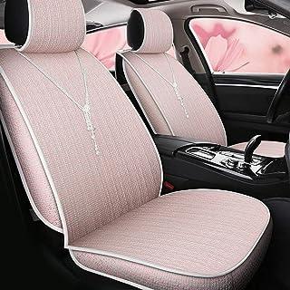 Dfghbn Asiento de Auto Four Seasons Universal - Cubierta de Asiento de cáñamo de Fibra Transpirable Totalmente Cerrada - Adecuado for la mayoría de los Coches de Cinco plazas - Rosa