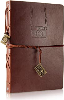 Scrapbooking Photo Album, Vintage Leather DIY Memory Book Wedding Guest Book Refillable Black Pages,Birthday for Boy Men,Father's Day Present for Father Husband (Camera, Large)