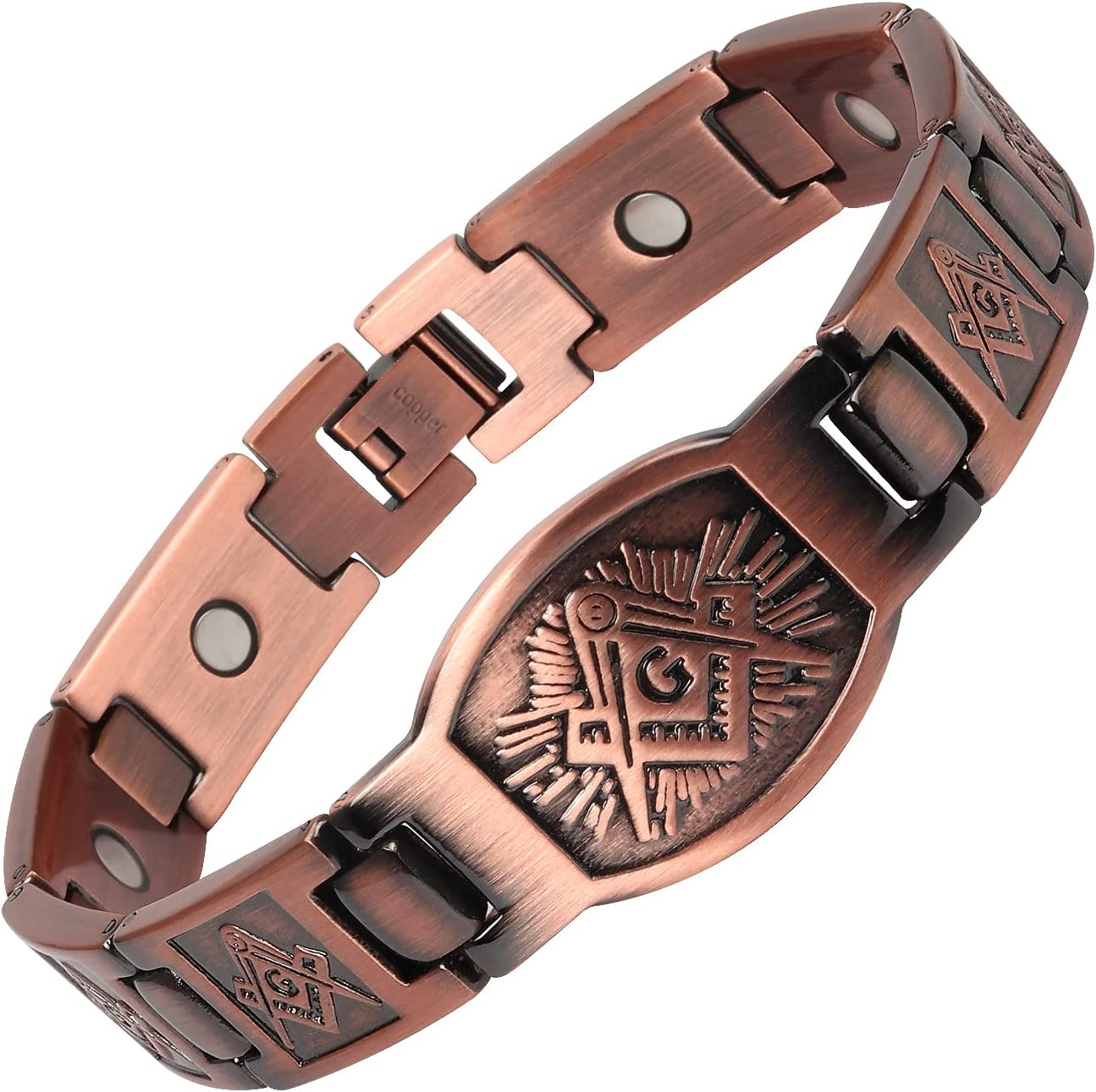 Price reduction THE NORTH RING Men's Pure Church Bracele Therapy Max 90% OFF Copper Magnetic
