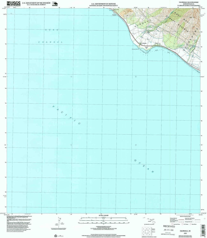 Olowalu HI topo map, 1 24000 Scale, 7.5 X 7.5 Minute, Historical, 1992, Updated 1999, 26.6 x 22.9 in