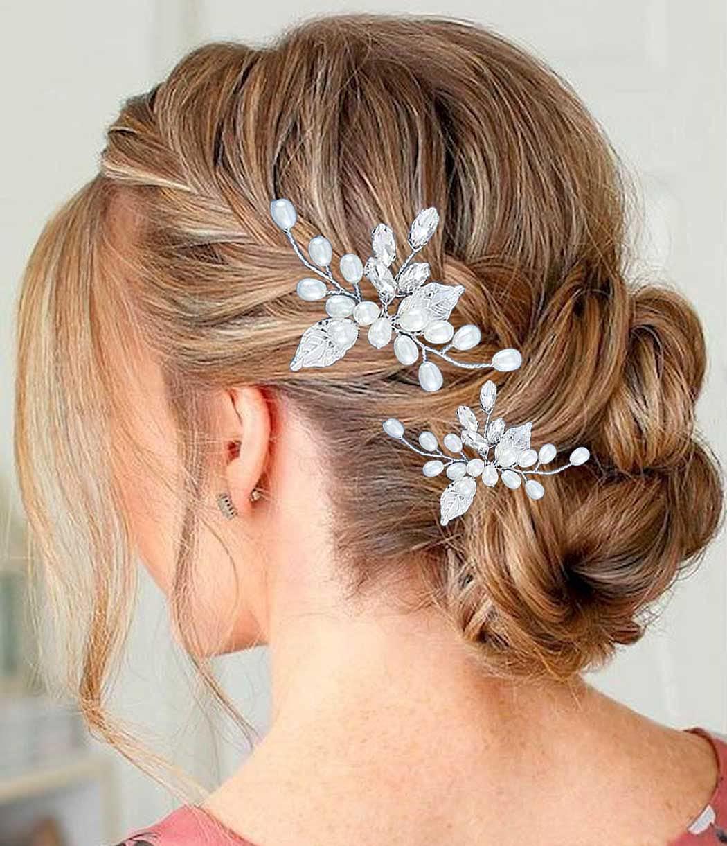 YBSHIN Genuine New item Bride Wedding Silver Hair Pins Rhinest Crystal Clips