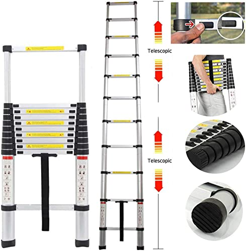 new arrival Extension Telescoping Ladder Aluminum Foldable Extendable new arrival Climb Steps Non-Slip with Safety Locking System popular EN131 Certificated 330lb Capacity outlet online sale