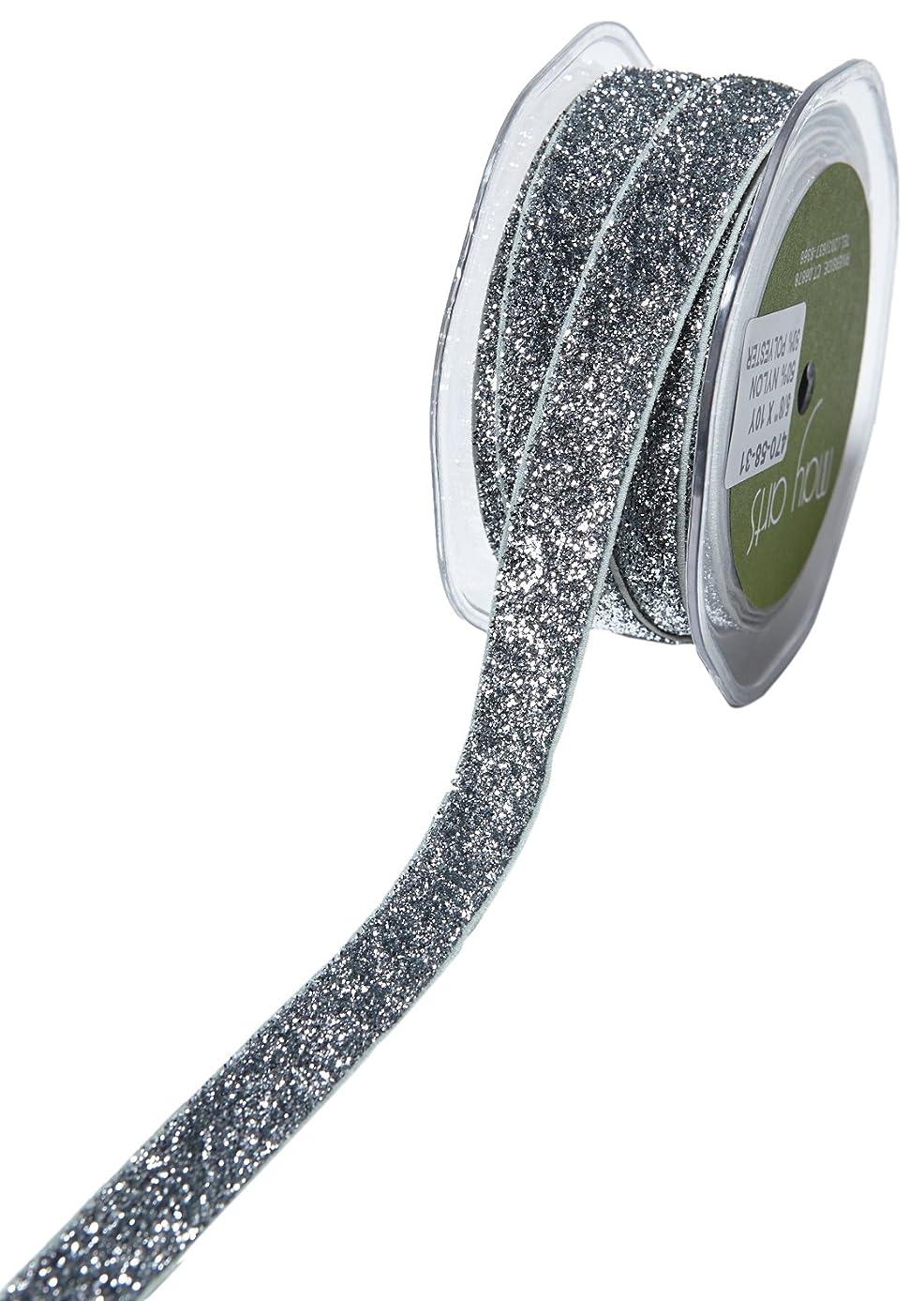 May Arts Glitter Elastic, 5/8-Inch by 10-Yard, Silver