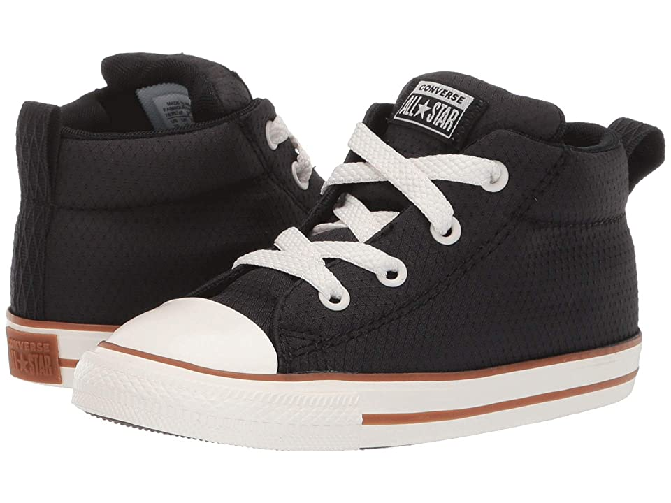 Converse Kids Chuck Taylor All Star Street Pinstripe Mid (Infant/Toddler) (Black/Gum/Egret) Boys Shoes