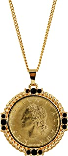 American Coin Treasures Italian 20 Lira Coin Pendant Necklace - Italian 20 Lire Goldtone Pendant with Faceted Round Jet Glass Stones| Italian Medallion Pendant