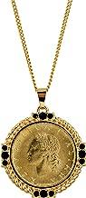 American Coin Treasures Italian 20 Lira Coin Pendant Necklace - Italian 20 Lire Goldtone Pendant with Faceted Round Jet Glass Stones| Italian Medallion Pendant