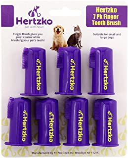 Hertzko Dogs and Cat Finger Tooth Brush Pk Includes 7 Finger Brushes - Gives Great Control to Reach into The Back of Your Dogs Mouth - Decreases Teeth and Gum Problems - Advanced Oral Care