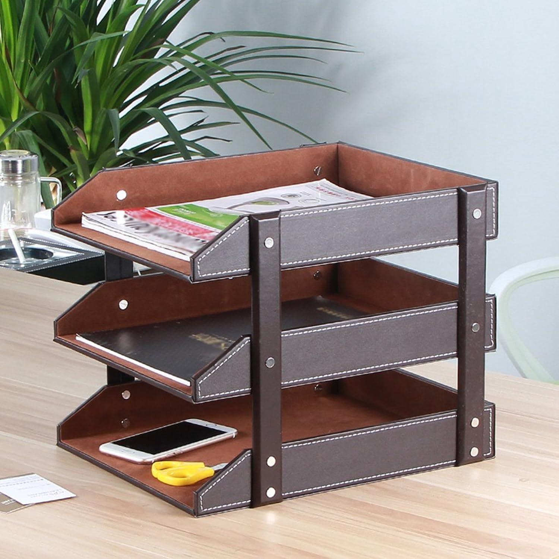 File Holder Leather Storage Rack Bookcase Data Shelf Office Desktop Three Floors Bookshelf,Brown