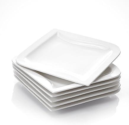 Preisvergleich für MALACASA, Serie Joesfa, Cremeweiß Porzellan 6 TLG. Flachteller Essteller Speiseteller 26 x 26 x 2,5 cm für 6 Personen