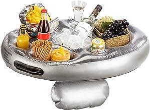 infactory Poolbar: Schwimmender 2in1-Getränke- und Snackhalter, aufblasbar, 70 x 50 cm Aufblasbarer Getränkehalter