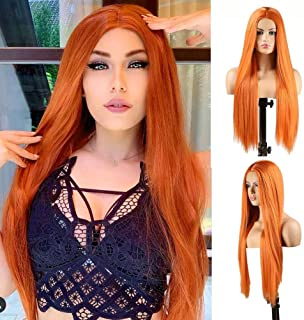 RDY Long Silky Straight Machine Made Wigs for Black Women Middle Part Cosplay Hair Wig High Temperature Hair Synthetic Wig...