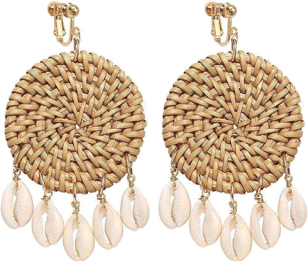 Sojewe Dainty 5 Shell Disc Rattan Clip on Earrings for Women and Girl Jewelry Hand Woven Lightweight Straw Wicker Braid Ethnic Statement Geometric Round Dangle Drop Non Pierced Ears