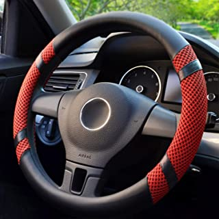 BOKIN Steering Wheel Cover Microfiber Leather Viscose, Breathable, Anti-Slip, Odorless, Warm in Winter Cool in Summer, Universal 15 Inches (Red)