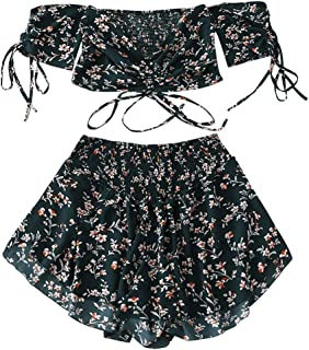 61773e63d92 ZAFUL Women's Two Piece Off Shoulder Floral Smocked Crop Top and Shorts Set