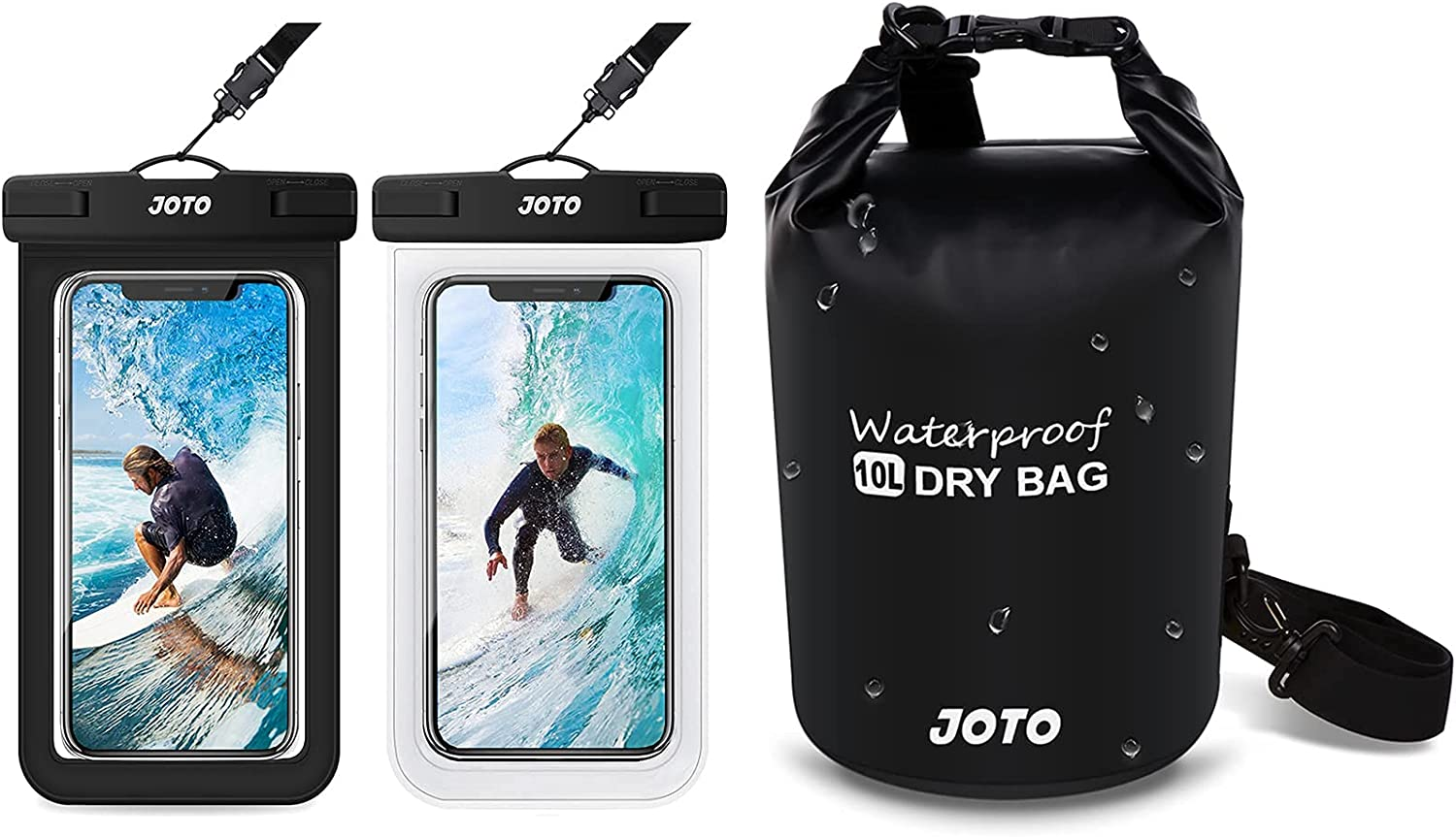 JOTO [2 Pack] Universal Waterproof Pouch Cellphone Dry Bag Case for Phones up to 7.0