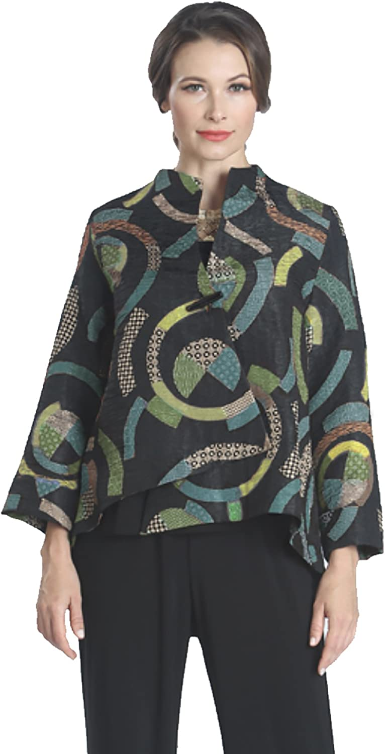 IC Collection Asymetric HighLow Jacket In Teal Multi