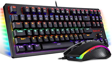 Redragon S113 Gaming Keyboard Mouse Combo Wired Mechanical LED RGB Rainbow Keyboard Backlit with Brown Switches and RGB Ga...