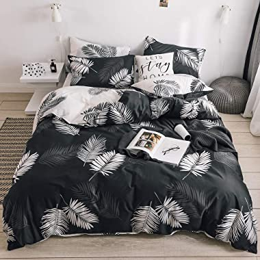 BuLuTu Queen Duvet Cover Cotton Black White Tropical for Kids Adults,Modern Botanical Leaf Boho Reversible Teen Boys Girls Bedding Sets Full Queen Comforter Cover Zipper Closure,No Comforter